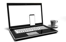膝上型计算机,在与裁减路线的白色-隔绝的手机 免版税图库摄影