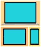 膝上型计算机,智能手机 如果层单独需要的个人计算机压片他们您,箭头可能删除享用 免版税库存图片