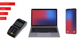 膝上型计算机,电话,白色背景的POS终端 也corel凹道例证向量 EPS10 库存例证