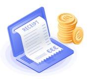膝上型计算机,网上票据付款,堆欧洲硬币 免版税库存照片