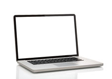 膝上型计算机,象与黑屏的macbook 免版税库存图片