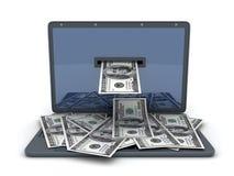 膝上型计算机货币 免版税库存图片