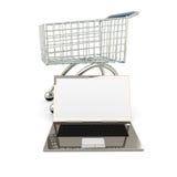 膝上型计算机购物 免版税库存照片