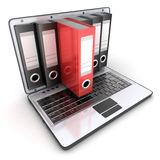 膝上型计算机3d和文件 库存图片