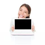 膝上型计算机netbook妇女 免版税库存照片