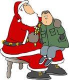 膝盖s圣诞老人开会 免版税库存图片