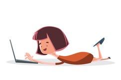 膝部上面计算机例证漫画人物的女孩 免版税库存照片