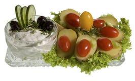 膳食用tzatziki和起重器土豆 库存图片