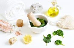 自创主字体面具的自然成份洗刷绿色菠菜 库存照片