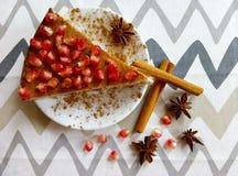 自创乳酪蛋糕用石榴和肉桂条和美洲黑杜鹃星 库存图片