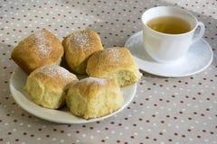 自创传统捷克小圆面包充塞用李子阻塞,葡萄干和酸奶干酪在白色板材在桌上 免版税库存图片