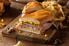 自创传统古巴三明治 免版税图库摄影