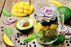 自创健康沙拉用黑豆,菜,果子,  库存照片