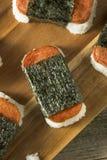 自创健康Musubi米和肉三明治 免版税库存图片