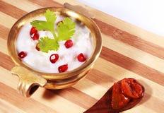 自创凝乳米南印地安食物用石榴和柠檬腌汁 库存照片