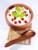 自创凝乳米南印地安食物用石榴 库存照片