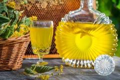 自创利口酒特写镜头与石灰和蜂蜜的 库存图片