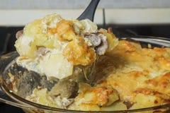 自创加调料烘烤的土豆用蘑菇和乳酪 在匙子的重点 免版税库存照片