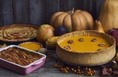 自创南瓜,感恩的苹果饼 图库摄影