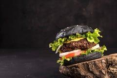 黑自创可口汉堡包用黑暗的小圆面包,牛肉肉乳酪莴苣葱,在黑暗的背景的蕃茄 免版税库存图片