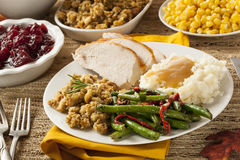 自创土耳其感恩晚餐 免版税库存图片