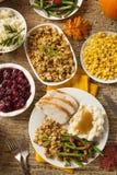 自创土耳其感恩晚餐 免版税库存照片