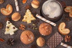 自创圣诞节曲奇饼可口品种  库存图片