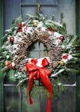 自创圣诞节花圈 库存图片
