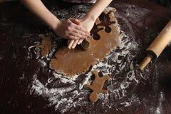 自创姜饼曲奇饼Layflat照片 免版税库存照片