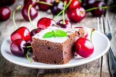 自创巧克力果仁巧克力点心片断用樱桃 库存照片