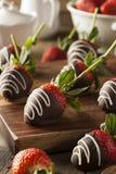 自创巧克力蘸了草莓 免版税图库摄影
