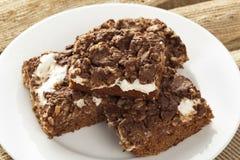 自创巧克力Marshmellow果仁巧克力 免版税库存照片