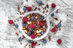 自创巧克力muesli或格兰诺拉麦片在一个碗有匙子的,莓果,烘干了果子和坚果 免版税库存照片