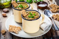 自创扁豆汤用薄脆饼干和荷兰芹 免版税库存照片