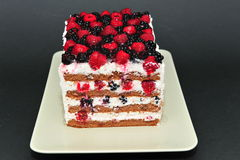 自创新鲜的莓果蛋糕 库存照片