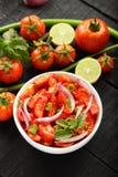自创新鲜的蕃茄辣调味汁沙拉顶上的视图 库存照片