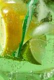 自创新鲜的鸡尾酒特写镜头与冰的,切片石灰和柠檬,薄菏叶子与塑料秸杆的与大 免版税库存图片