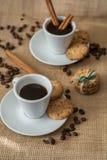 自创曲奇饼、咖啡和cinnemon 图库摄影