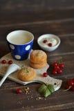 自创曲奇饼、牛奶和红浆果 免版税库存照片