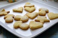 自创曲奇饼在各种各样的形状风景庄稼 免版税库存照片
