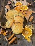 自创曲奇饼在桌上用早餐 库存图片