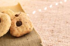 自创曲奇饼用巧克力是窗口 库存照片