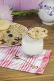 自创曲奇饼:椰子,燕麦粥,巧克力,在一张木桌上,与一杯牛奶,以一个夏天为背景 库存图片