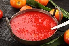 自创有机西红柿酱 库存照片