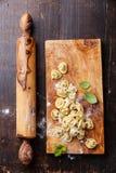 自创未加工的意大利式饺子 图库摄影