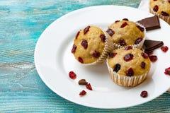 自创杯形蛋糕用樱桃位于轻的背景 一些块杯形蛋糕位于一块白色板材 免版税库存图片