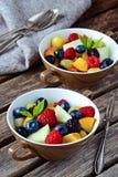 自创果子和莓果沙拉 健康点心 图库摄影