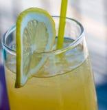 自创柠檬水显示汁液生气勃勃和健康 免版税库存图片