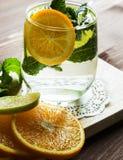 自创柠檬水用桔子和薄菏 免版税图库摄影