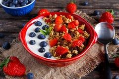 自创格兰诺拉麦片早餐用酸奶和新鲜水果莓果 概念健康食品 免版税库存照片